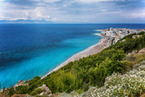 View on Rhodes city with sandy beach. Rhodes island, Dodekanes, Greece - 190088978