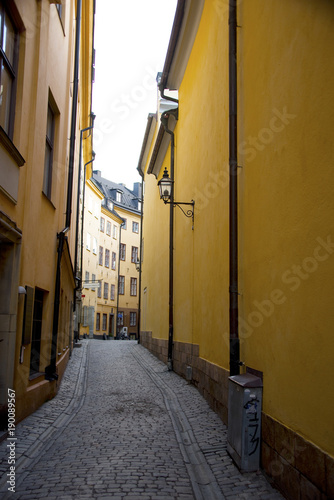 Foto op Canvas Smal steegje Narrow street in old town of Stockholm