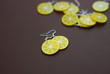 Fake Lemon Slices Earrings. Made from Polymer Clay on Brown Background with Copy Paste. Fruit Jewellry Isolated. - 190090392