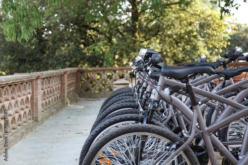Fotobehang Fiets mountain bikes in a bike parking