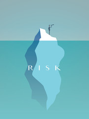 Business risk vector concept with businessman on iceberg in sea. Symbol of challenge, danger, leadership and courage.