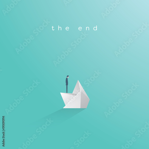 Business bankruptcy vector concept. Businessman on sinking paper boat. Symbol of business failure, debt, market crash, crisis and recession.
