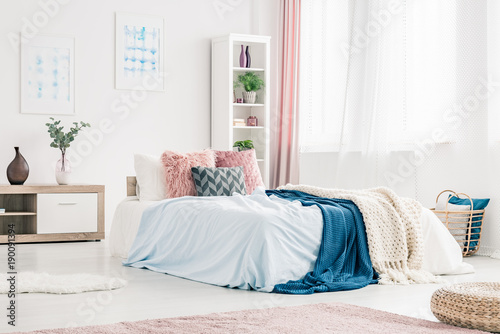 Pink and blue bedroom interior