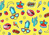 Seamless pattern with fashion patch badges with pineapple, lips, hearts, speech bubbles.  Vector illustration in cartoon 80s-90s style.. - 190092355