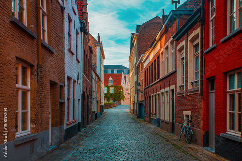 Papiers peints Bruges Historic street of Brugge, Belgium