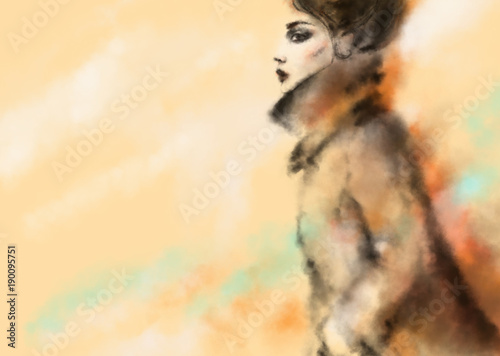 Fotobehang Anna I. Abstract woman in coat. Fashion illustration.