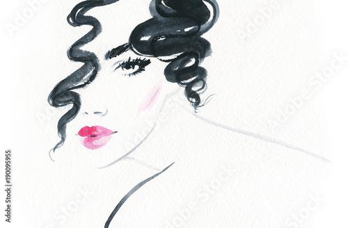 Fotobehang Anna I. Beautiful woman. Fashion illustration.