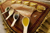 Traditional fish carpaccio with oliveoil presented in a croatian restaurant. - 190103396