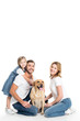 happy family with golden retriever dog, isolated on white