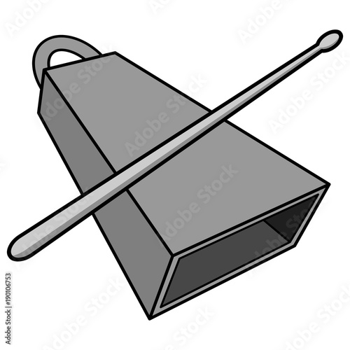 Cowbell and Drumstick Illustration - A vector cartoon illustration of a Cowbell and Drumstick.