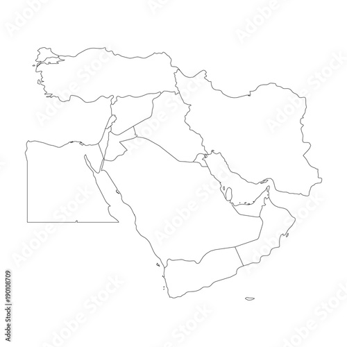 Blank map of Middle East, or Near East. Simple flat outline vector ...