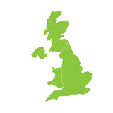 United Kingdom, UK, of Great Britain and Northern Ireland map. Divided to four countries - England, Wales, Scotland and NI. Simple flat green vector illustration. - 190109725
