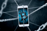 Chained smartphone with bitcoin symbol. Conception of cryptocurrency security. - 190120570