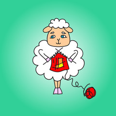 The sheep knit a red scarf. Vector drawing. Illustration