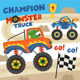 monster trucks with animals on races- vector illustration, eps  - 190132386