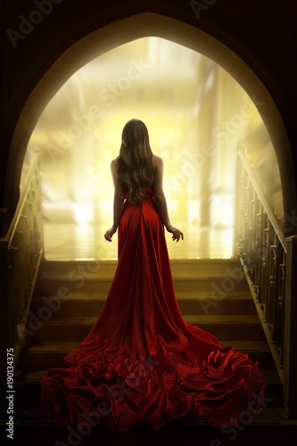 Foto Murales Elegant Woman Silhouette in Long Red Gown, Lady Back Rear View, Fashion Model Dress Fabric Waving on Stairs