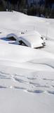 verschneite Hütten - hut burried in snow