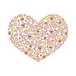 Vector illustration of cartoon heart from pink heart, notes, stars and butterflies - 190144384