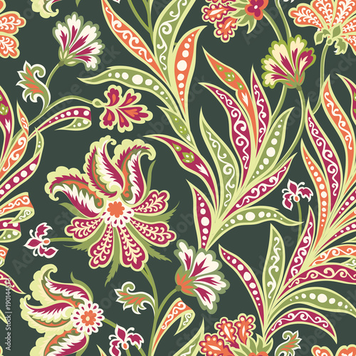 Cotton fabric Floral leaf and flower seamless pattern. Abstract oriental floral background
