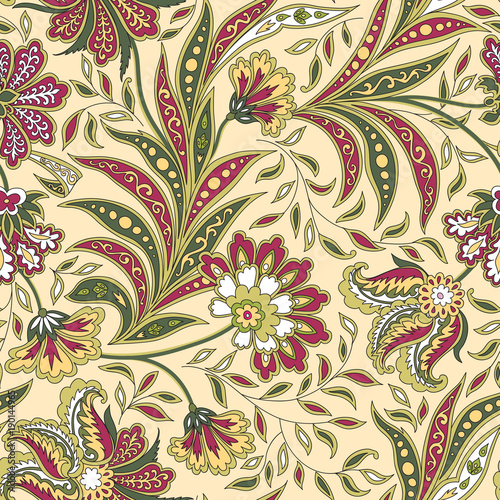 Floral leaf and flower seamless pattern. Abstract oriental floral background - 190144965