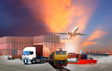 Transportation, import-export and logistics concept, container truck, ship in port and freight cargo plane in transport and import-export commercial logistic, shipping business industry - 190150399