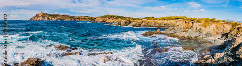 Foto op Plexiglas Blauwe hemel Panorama des les Iles du Gaou à Six-Fours-les-Plages, le Brusc