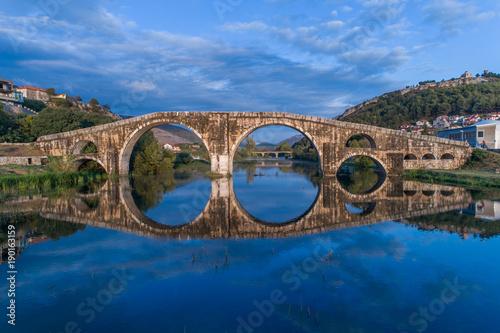 Aerial view of Arslanagica Bridge in Trebinje. Bosnia and Hercegovina.