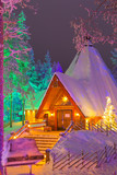 Travel Destinations Concepts. Unique Lapland Suomi Houses Over the Polar Circle in Finland at Christmas Time. Located in Front of Amazing Winter Forest Scenery in Finland - 190163505