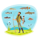 Vector fisherman man fishing and fish catch