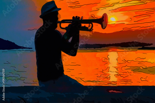 The black silhouette of a musician playing on a trumpet between night and day, at sunrise over the ocean