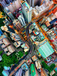 aerial view if downtown city and center living building condominium, express way at middle city of Hongkong