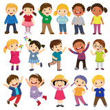 Happy kids cartoon collection. Multicultural children in different positions isolated on white background - 190171927