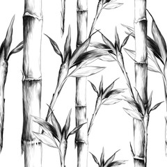 leaves branches stem bamboo pattern flowers texture frame seamless sketch vector graphics monochrome black-and-white drawing © Серафима Манекина