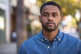 Young black man serious face portrait - 190175122