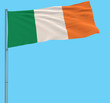 Isolate large cloth of Ireland on a flagpole fluttering in the wind on a blue background, 3d rendering. - 190177193