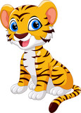 Cute tiger cartoon sitting isolated on white background