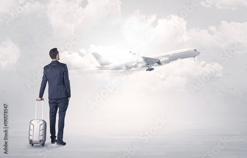 Businessman with luggage walking to airplane