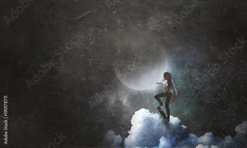Fotobehang Skateboard Teenager girl on grunge background. Mixed media