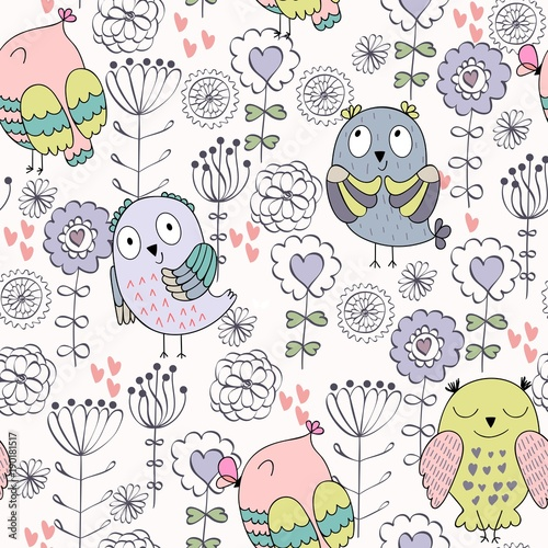 Vector seamless pattern with owls and flowers - 190181517