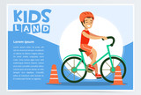 Smiling active boy riding bicycle, kids land banner flat vector element for website or mobile app - 190182364