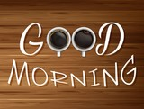 Good morning. Two cup of coffee on wooden table background