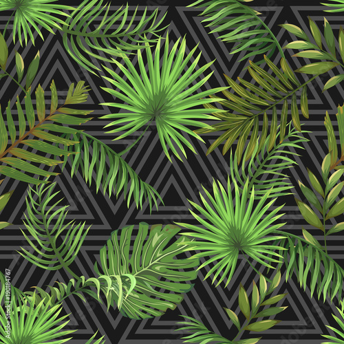 Seamless pattern with leaves of palm trees on a dark background with a triangular ornament