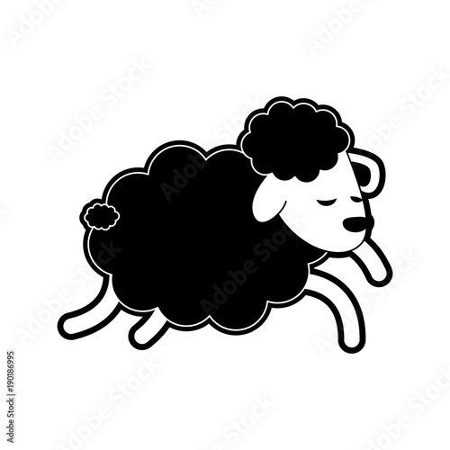 Aluminium Boerderij Sheep sleeping cartoon icon vector illustration graphic design