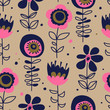 seamless pattern with hand drawn flowers - 190187588