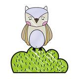 grated owl wild animal in bursh plant