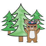 grated ethnic bear animal with pine trees