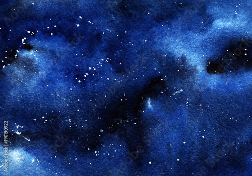 A clastic starry night sky. Clouds, a deep space of black and blue flowers with a spray of white stars. Drawing with watercolor. © Olga