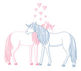 two lovely enamored unicorns and hearts