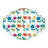 decorative label flowers petal stem spring style vector illustration - 190204106