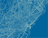 Blue and White vector city map of Barcelona with well organized separated layers. - 190206584